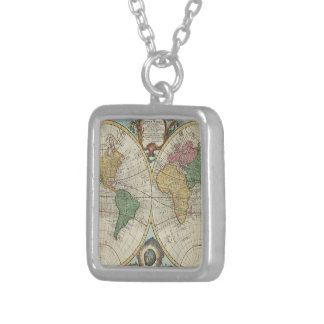 Vintage Map of The World (1744) Square Pendant Necklace