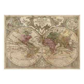 Vintage Map of The World (1775) 3 Poster