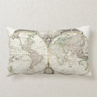 Vintage Map of The World (1775) Pillows