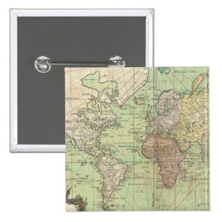 Vintage Map of The World (1778) Pinback Button