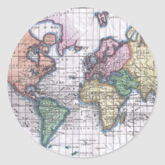 Vintage Map of The World (1780) Classic Round Sticker