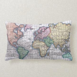 Vintage Map of The World (1780) Lumbar Pillow