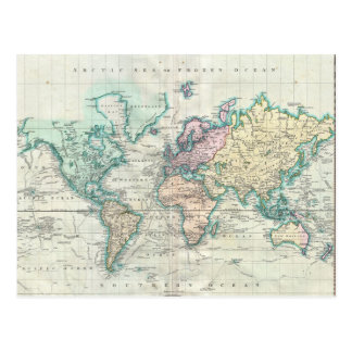Vintage Map of The World (1801) Postcard