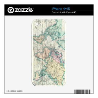 Vintage Map of The World (1801) Decal For The iPhone 4S