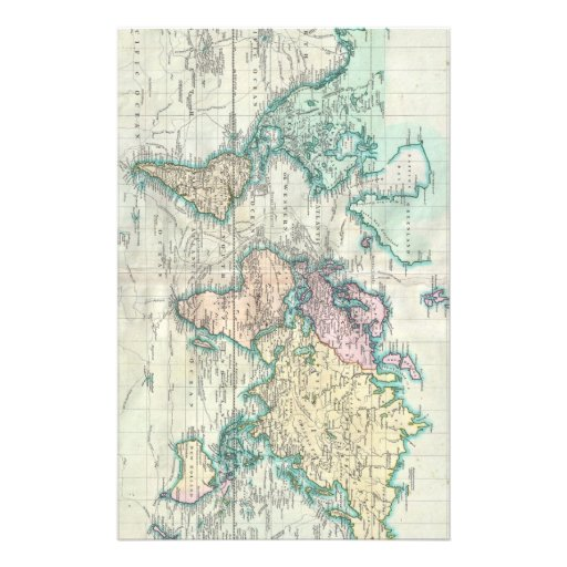 Vintage Map of The World (1801) Personalized Stationery