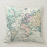 Vintage Map of The World (1801) Throw Pillows