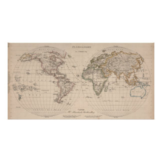 Vintage Map of The World (1827) 2 Poster
