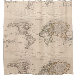 Vintage World Map Shower Curtains