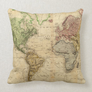 Vintage Map of The World (1831) Throw Pillows
