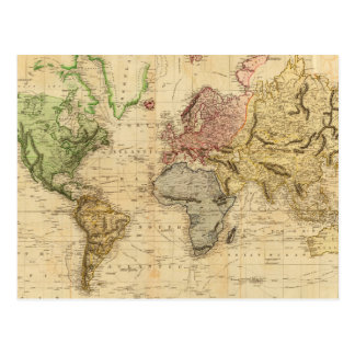 Vintage Map of The World (1831) Postcard