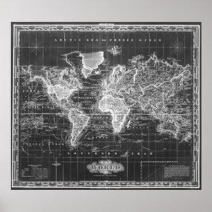 Black white vintage world map gifts on zazzle vintage map of the world 1833 black white poster gumiabroncs Images
