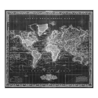 Old world map art framed artwork zazzle vintage map of the world 1833 black amp white poster sciox Gallery