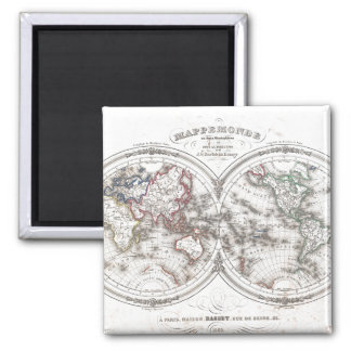 Vintage Map of The World (1848) Magnet