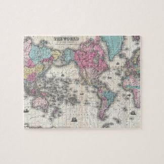 Historical world map jigsaw puzzles zazzle vintage map of the world 1852 jigsaw puzzle gumiabroncs Image collections