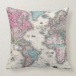Vintage Map of The World (1852) Throw Pillows