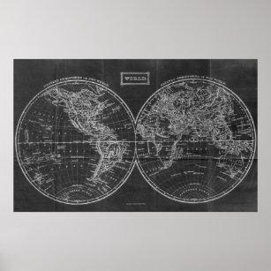 Black White Vintage World Map Art Wall Décor Zazzle - Black and white vintage world map