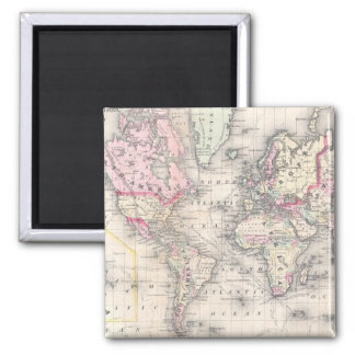 Vintage Map of The World (1864) Magnet