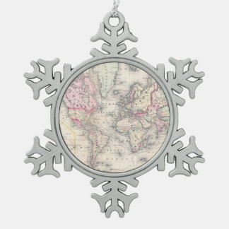 Vintage Map of The World (1864) Snowflake Pewter Christmas Ornament