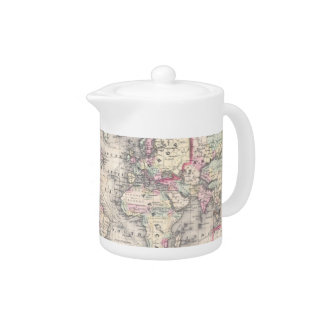 Vintage Map of The World (1864) Teapot