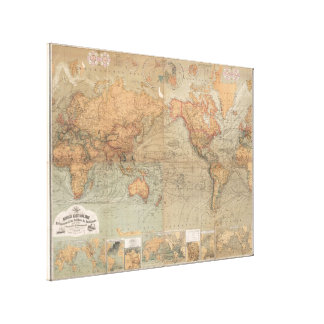 Vintage Map of The World (1870) Stretched Canvas Print