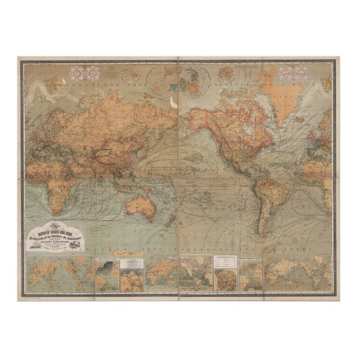 Vintage Map of The World (1870) Print