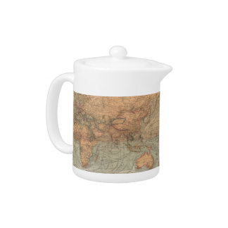 Vintage Map of The World (1870) Teapot