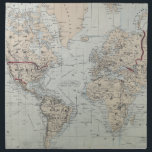 "Vintage Map of The World (1875) Napkin<br><div class=""desc"">This is a vintage map of the World produced in 1875.</div>"