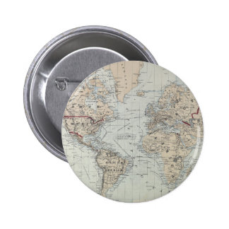 Vintage Map of The World (1875) Pinback Button