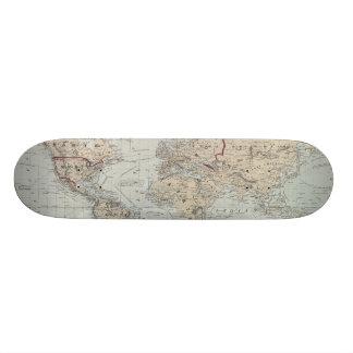 Vintage Map of The World (1875) Skateboard