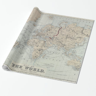 Vintage Map of The World (1875) Wrapping Paper