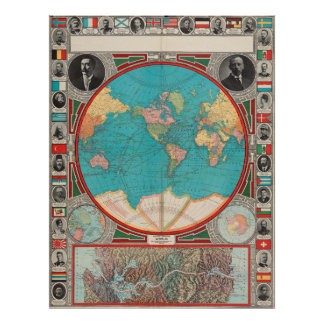 Vintage Map of The World (1913) Poster