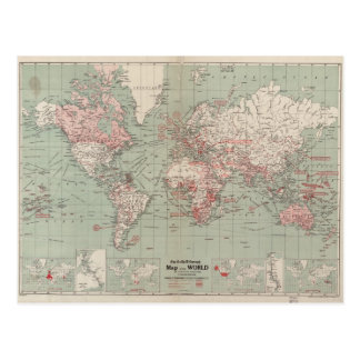 Vintage Map of The World (1918) Postcard
