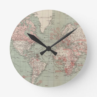 Vintage Map of The World (1918) Round Clock