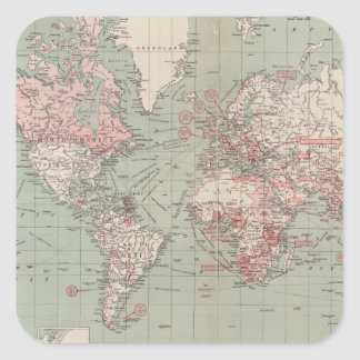Vintage Map of The World (1918) Square Sticker