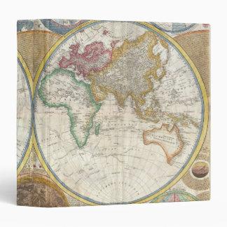 Vintage Map of the World in Hemispheres - 1794 3 Ring Binder