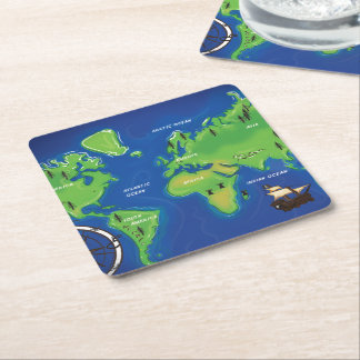 Vintage Map Of the world. Square Paper Coaster