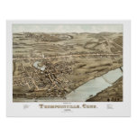Vintage map of Thompsonville, CT from 1878 Poster