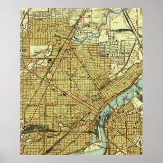 Vintage Map of Toledo Ohio (1938) Poster