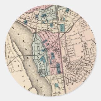 Vintage Map of Trenton NJ (1872) Classic Round Sticker