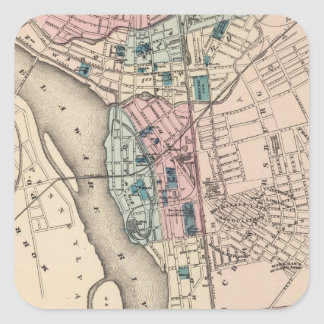 Vintage Map of Trenton NJ (1872) Square Sticker