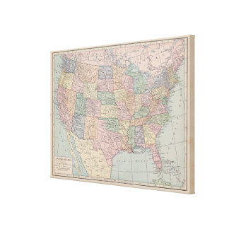 Vintage Map of United States on Canvas Stretched Canvas Print