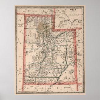 Vintage Map of Utah (1883) Poster