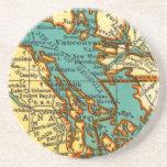 Vintage Map of VANCOUVER CANADA Coaster Beermat