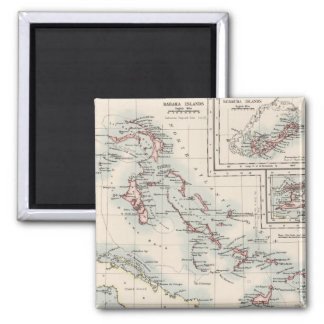 Vintage Map of Various Caribbean Islands (1906) 2 Inch Square Magnet