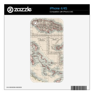 Vintage Map of Various Caribbean Islands (1906) Skin For iPhone 4S