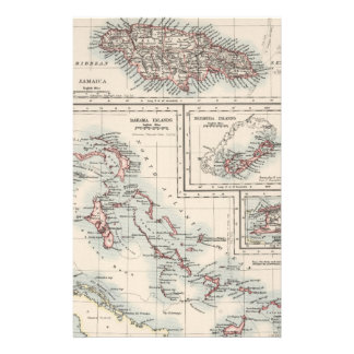 Vintage Map of Various Caribbean Islands (1906) Stationery