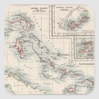 Vintage Map of Various Caribbean Islands (1906) Square Sticker