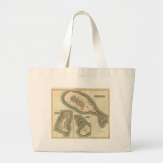Vintage Map of Various Islands of The Caribbean Large Tote Bag