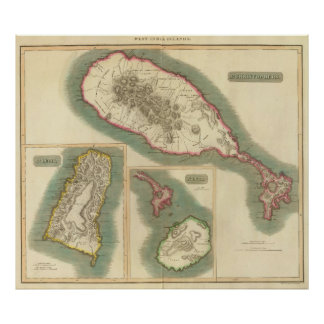 Vintage Map of Various Islands of The Caribbean Poster