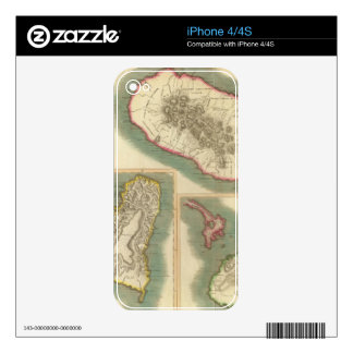 Vintage Map of Various Islands of The Caribbean Decal For iPhone 4S